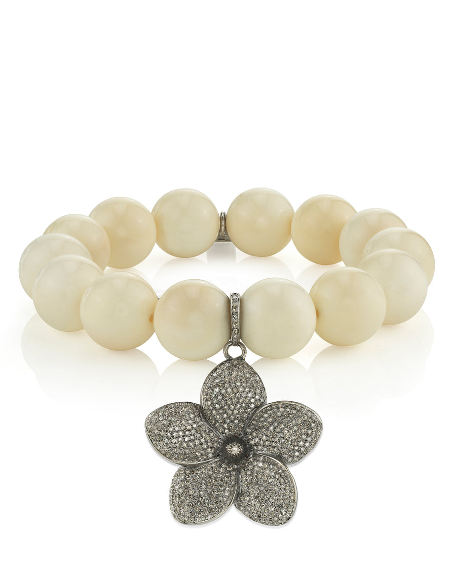 Bone Bracelet With Pavé Flower Pendant