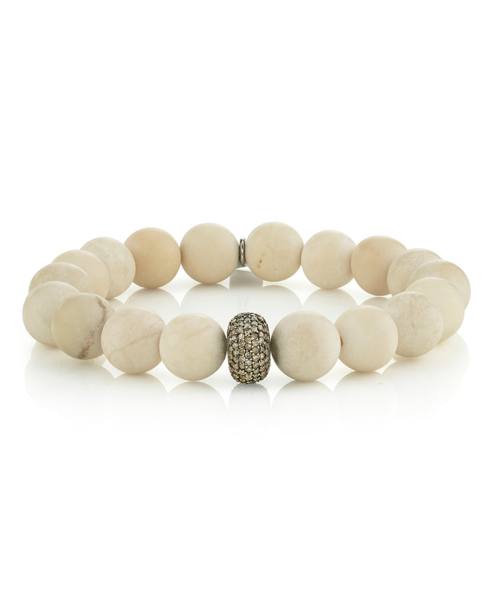 White Coral and Pavé Diamond Bracelet