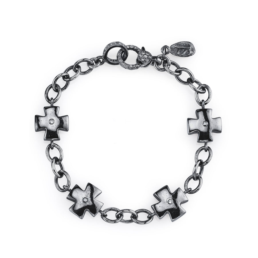 Maltese Cross Link Chain Bracelet