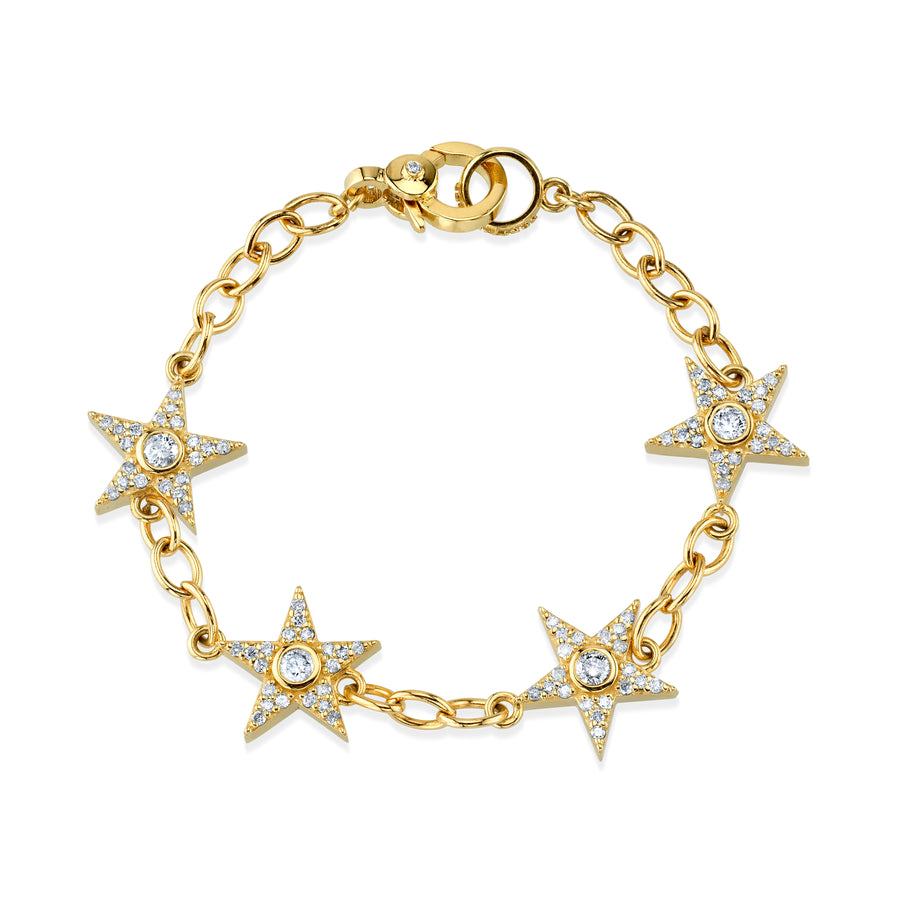 14K Gold Bezel Star Chain Bracelet
