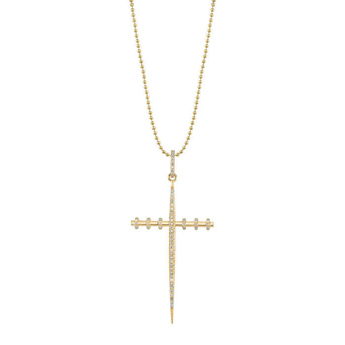 14K Gold Large Armour Cross Necklace