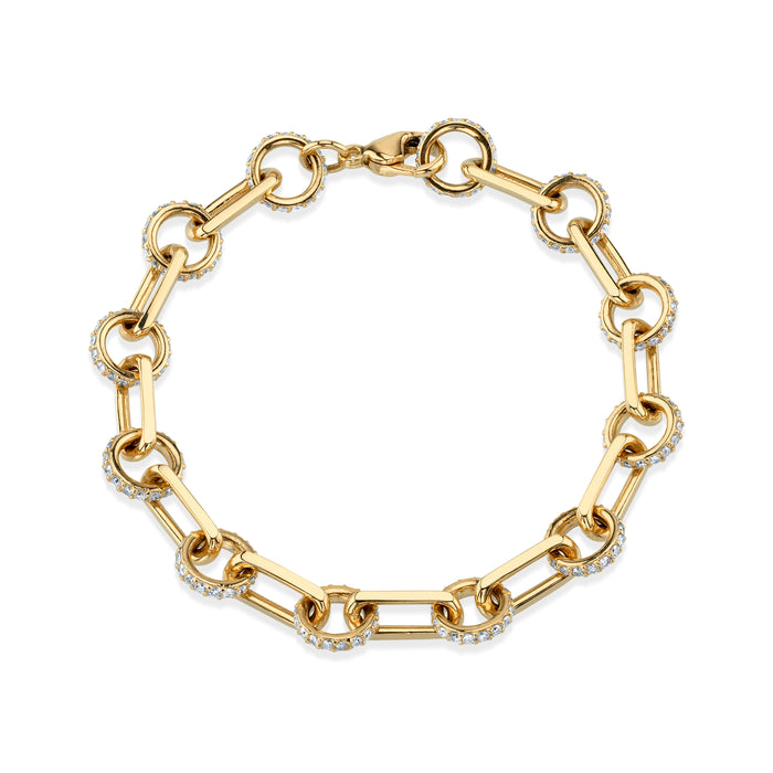 14K Gold Pavé Circle Square Bracelet
