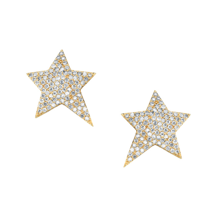 14K Yellow Gold Asymmetrical Star Stud Earrings