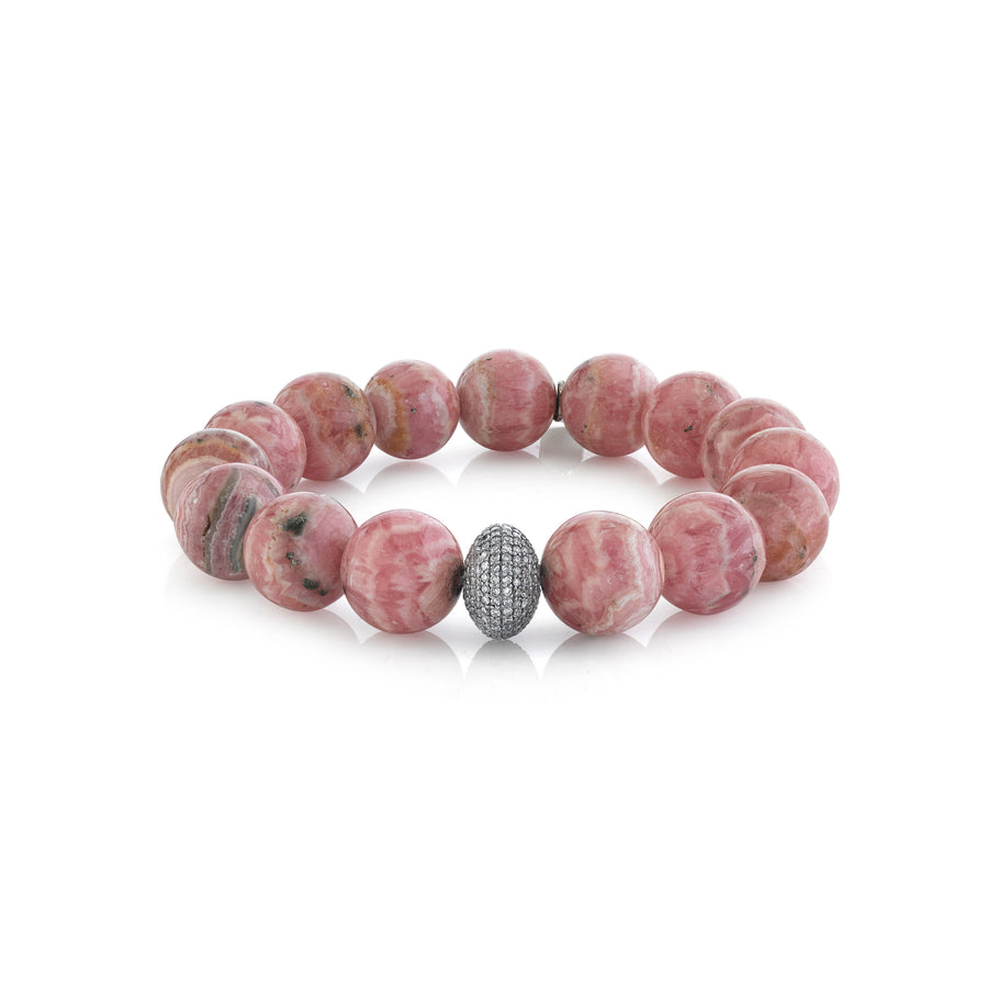 Rhodochrosite Bracelet With Diamond Donut