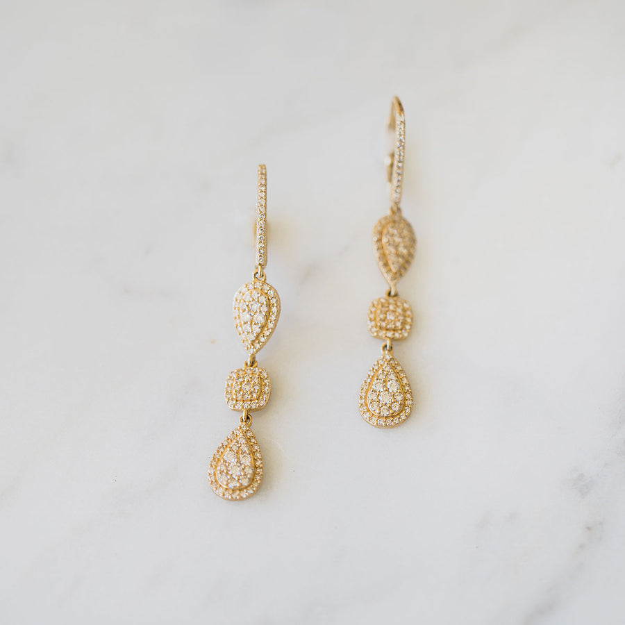 14k Gold Three Tier Drop Earrings