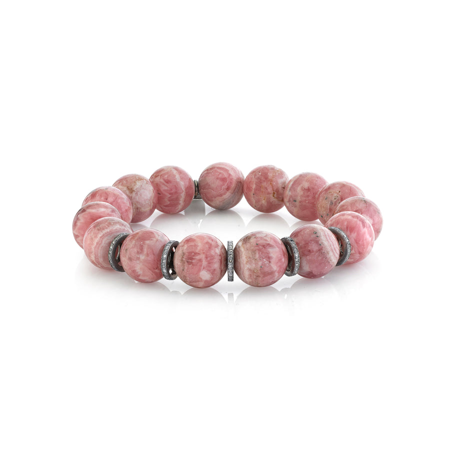 Rhodochrosite Bracelet With Five Diamond Rondelles