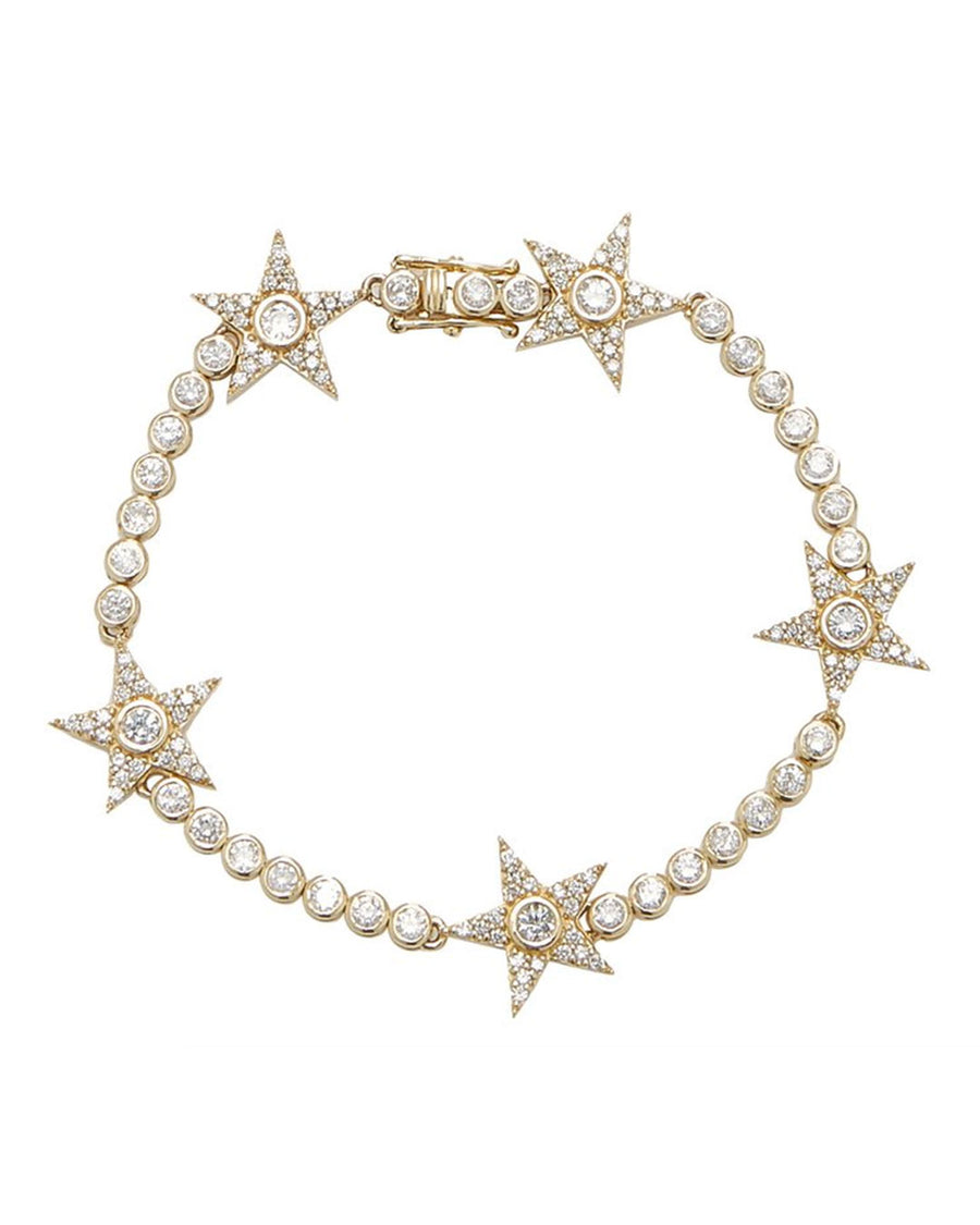 14k Gold Tennis Bracelet With Five Bezel Stars