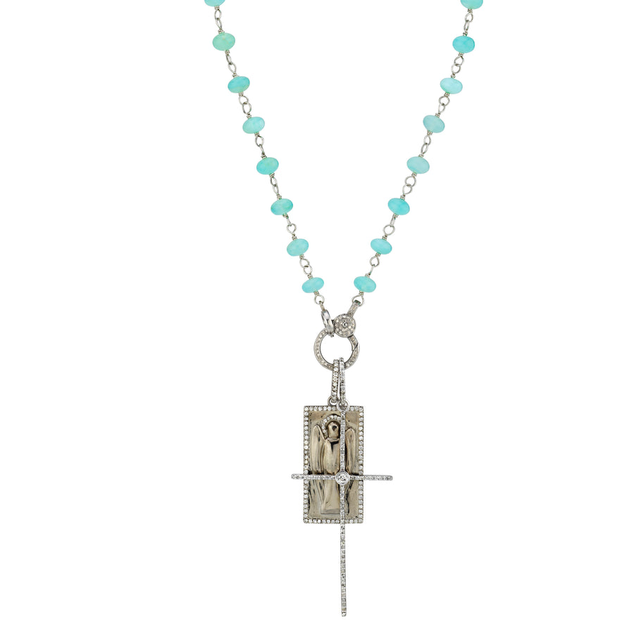 Peruvian Opal Wire Wrap Necklace with Pavè Cross + Guardian Angel Tag Pendant