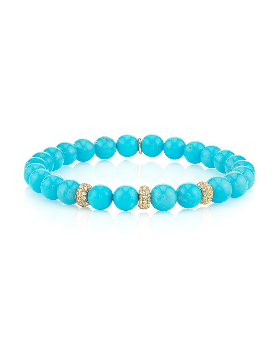 Turquoise Bracelet with Three 14K Gold Pavé Diamond Donuts
