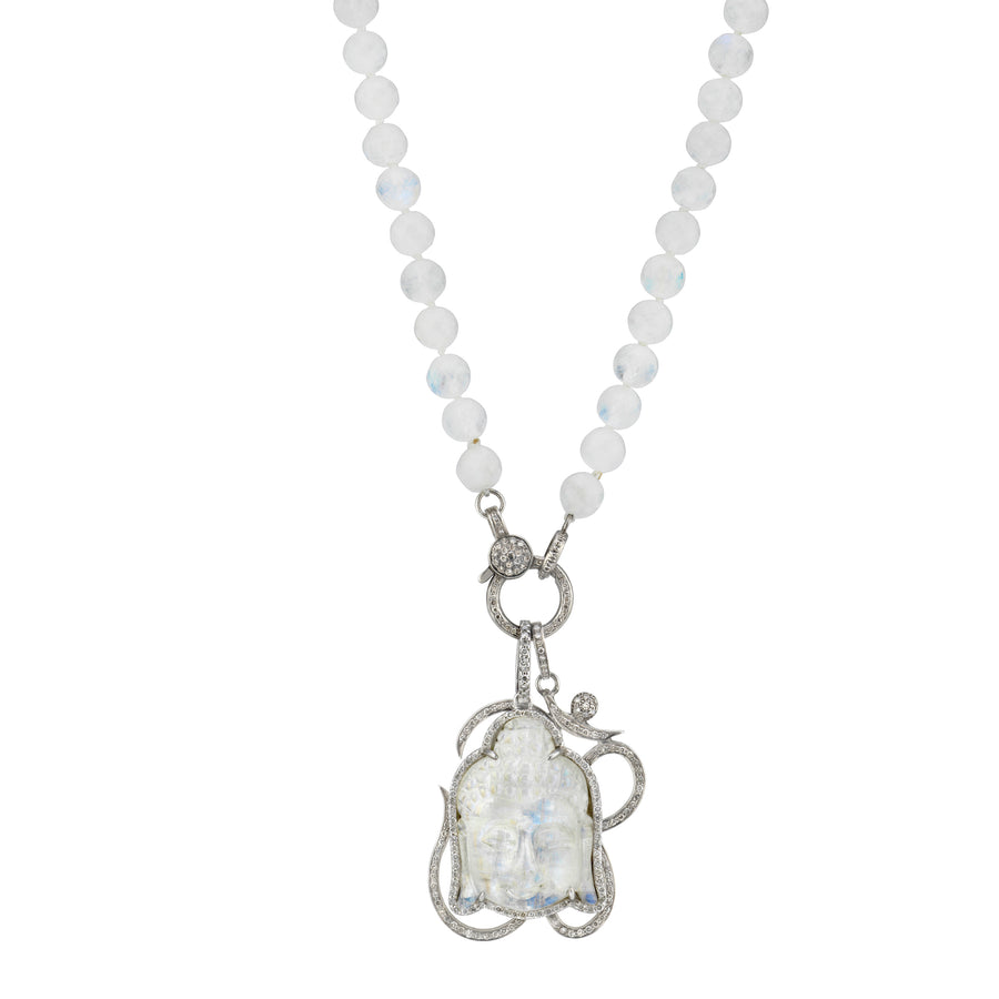 Knotted Rainbow Moonstone Necklace with Pavé Om and Buddha Head Pendant