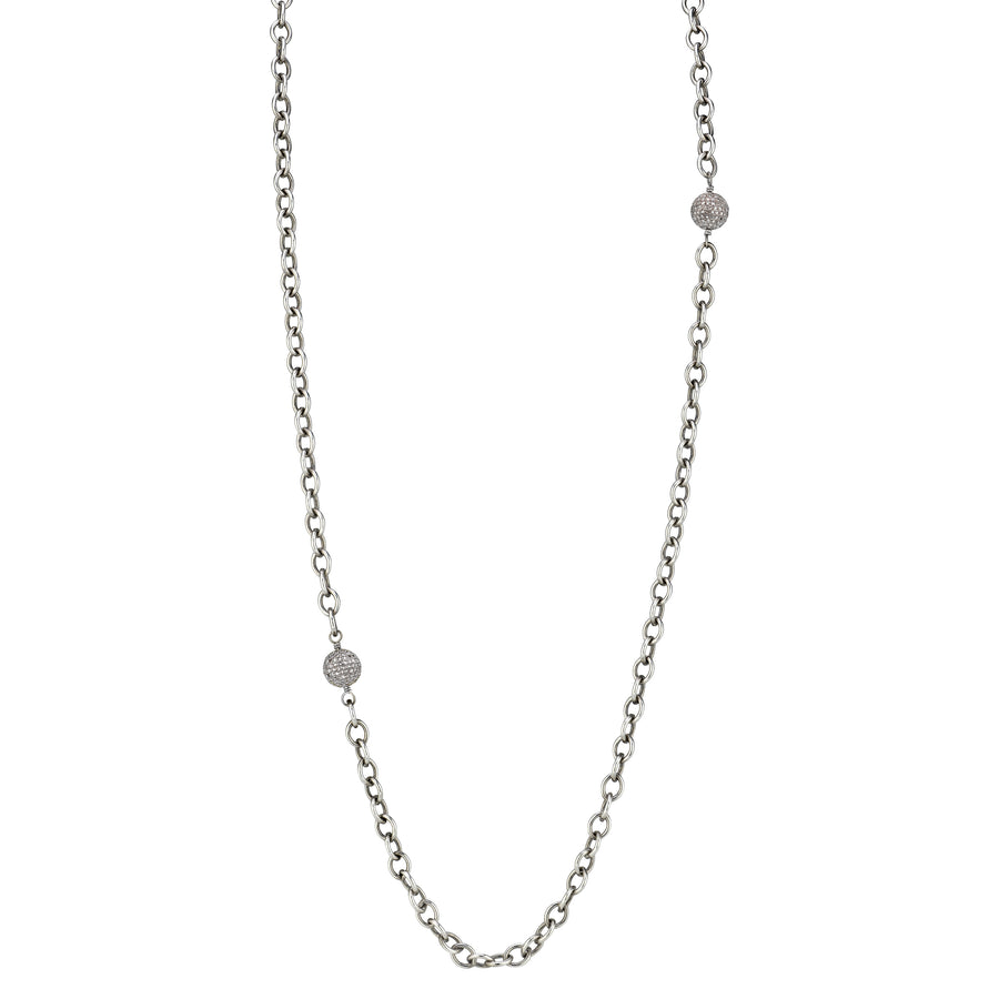 Pavé Diamond Bead Link Chain Necklace