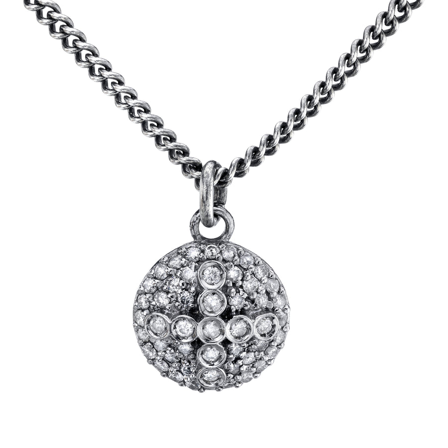 Diamond Dome Cross Pendant Necklace