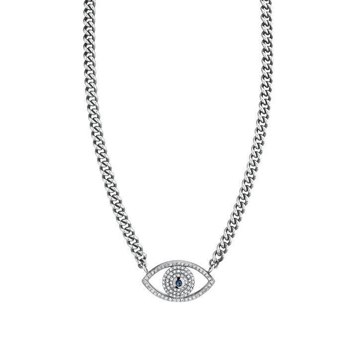 Diamond and Sapphire Evil Eye on Short Chain Necklace