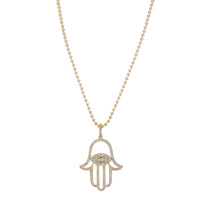 14K LARGE HAMSA NECKLACE