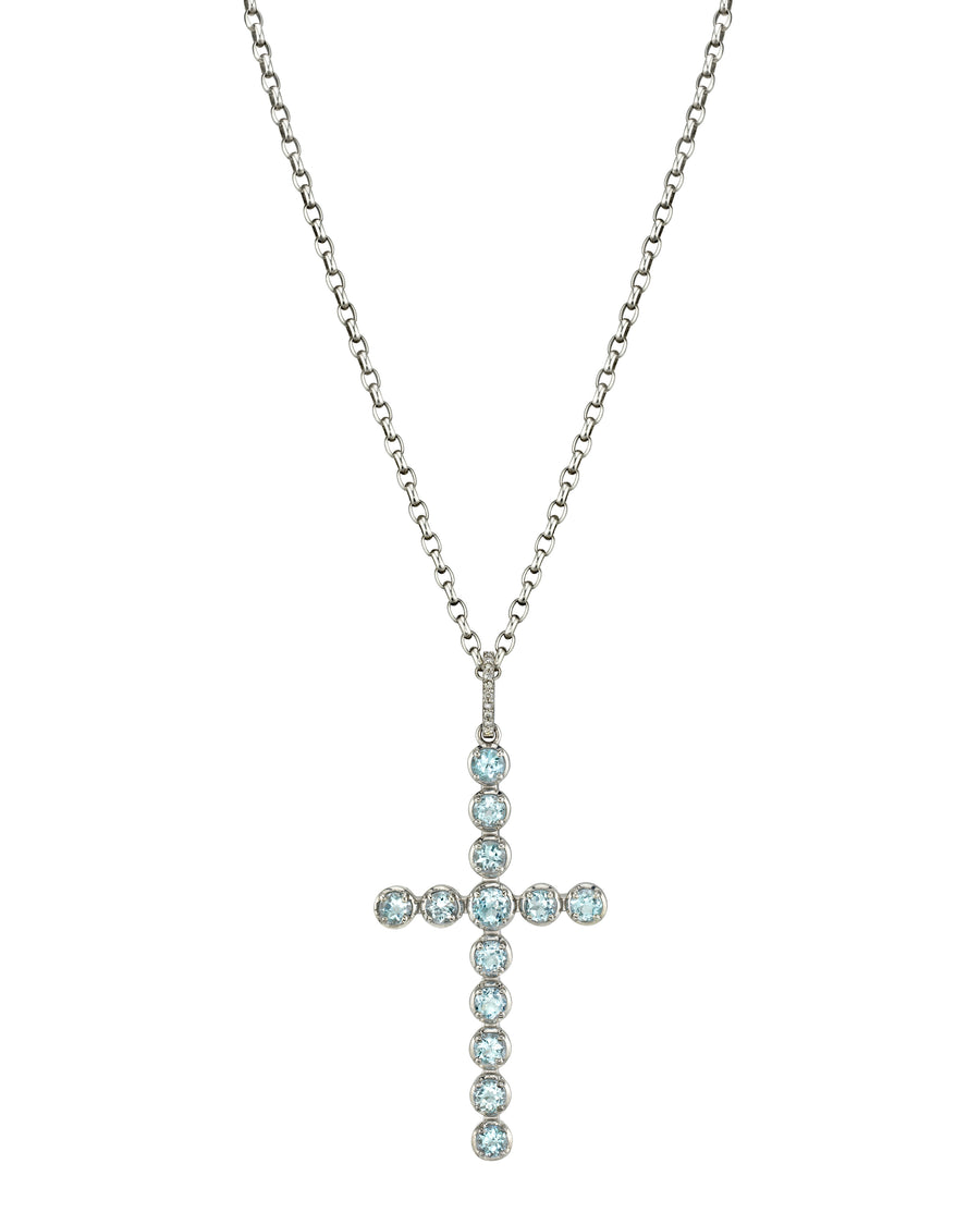 Aquamarine Cross Chain Necklace