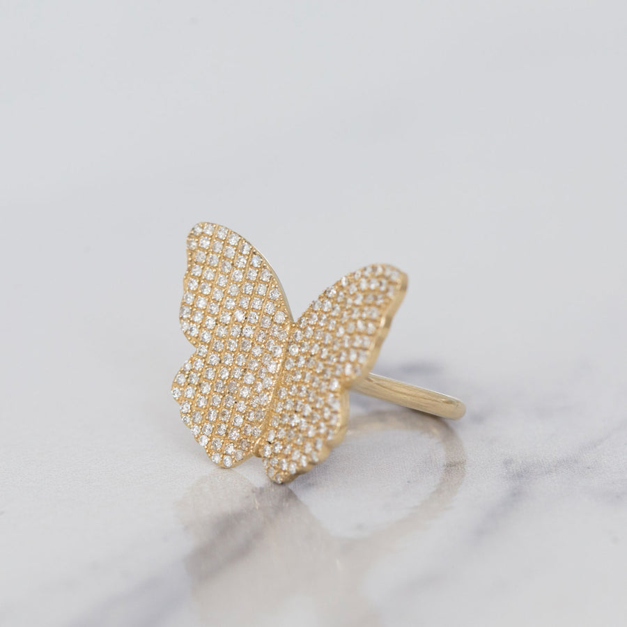 14k Diamond Butterfly Ring