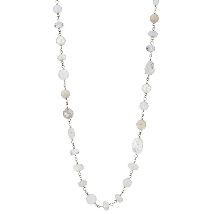 White Mixed Gemstones Necklace