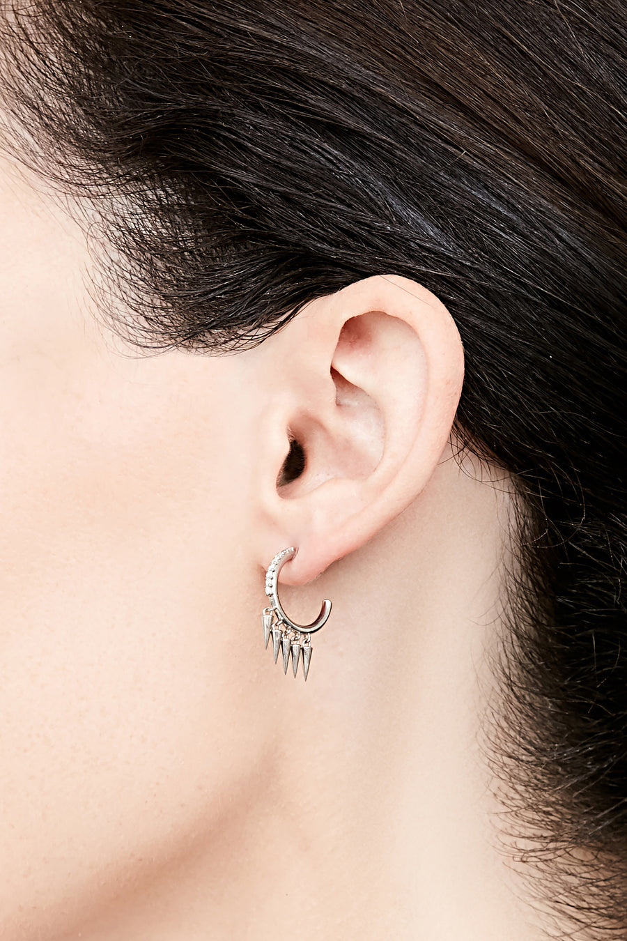 Spike Dangle Hoop Earrings