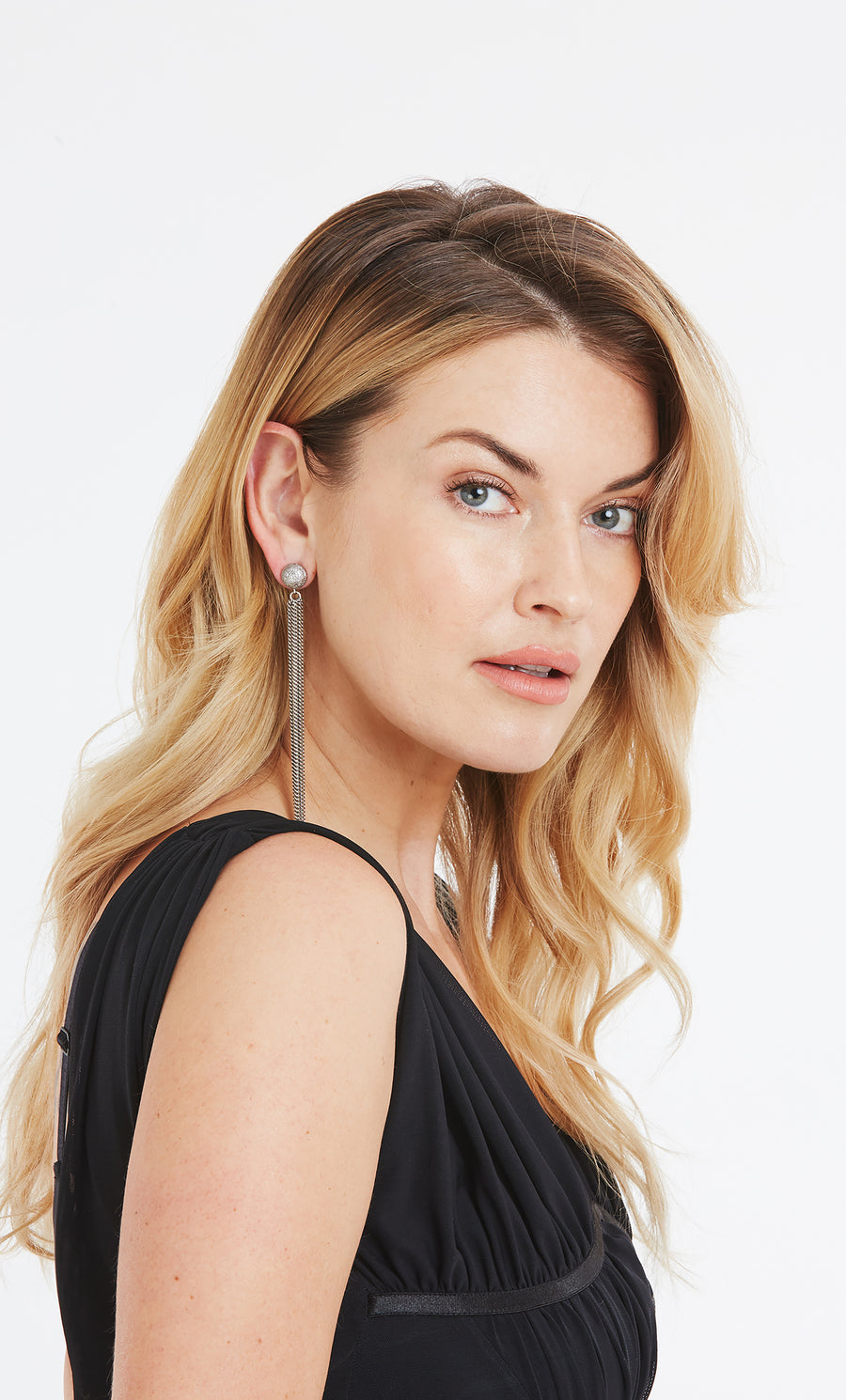 Extra-Long Chain Fringe and Pavé Diamond Earrings