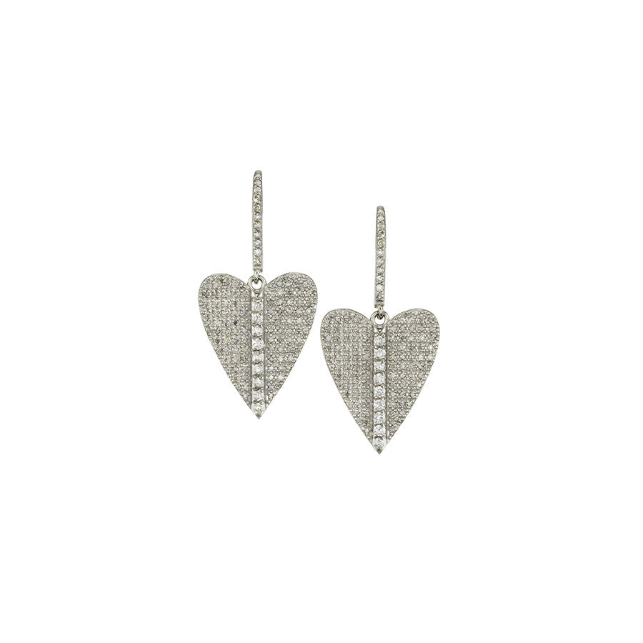 Diamond Folded Heart Earrings
