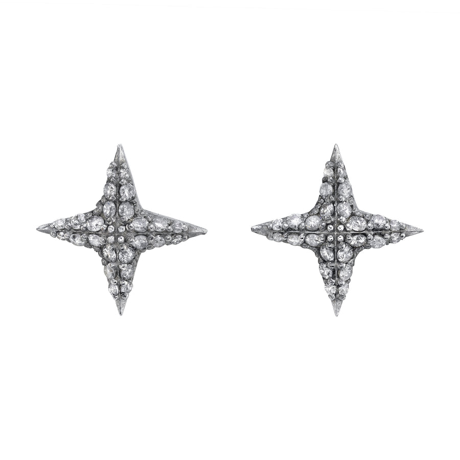 Diamond 4 Point Star Stud Earrings