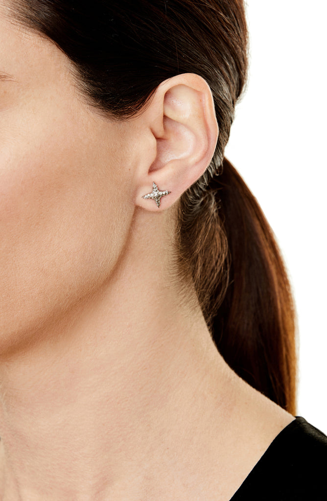 Pavé Diamond 4 Point Star Stud Earrings
