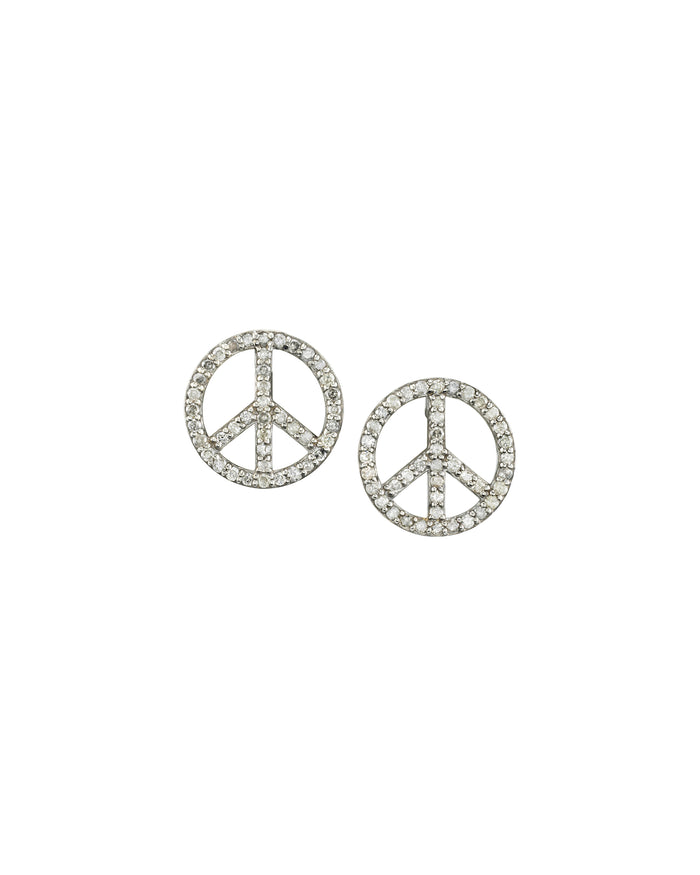 Pavé Diamond Peace Sign Stud Earrings
