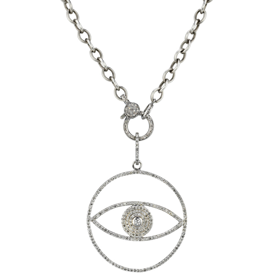 Diamond Evil Eye Box Chain Necklace
