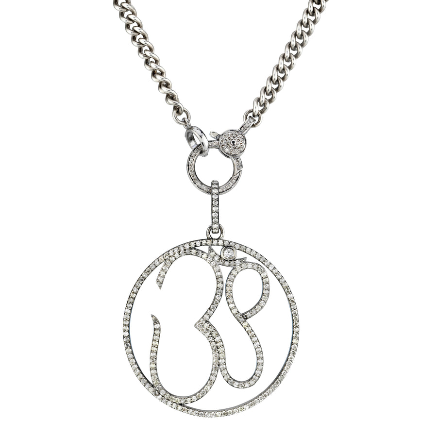 Pavè Om Pendant on Curb Chain Necklace
