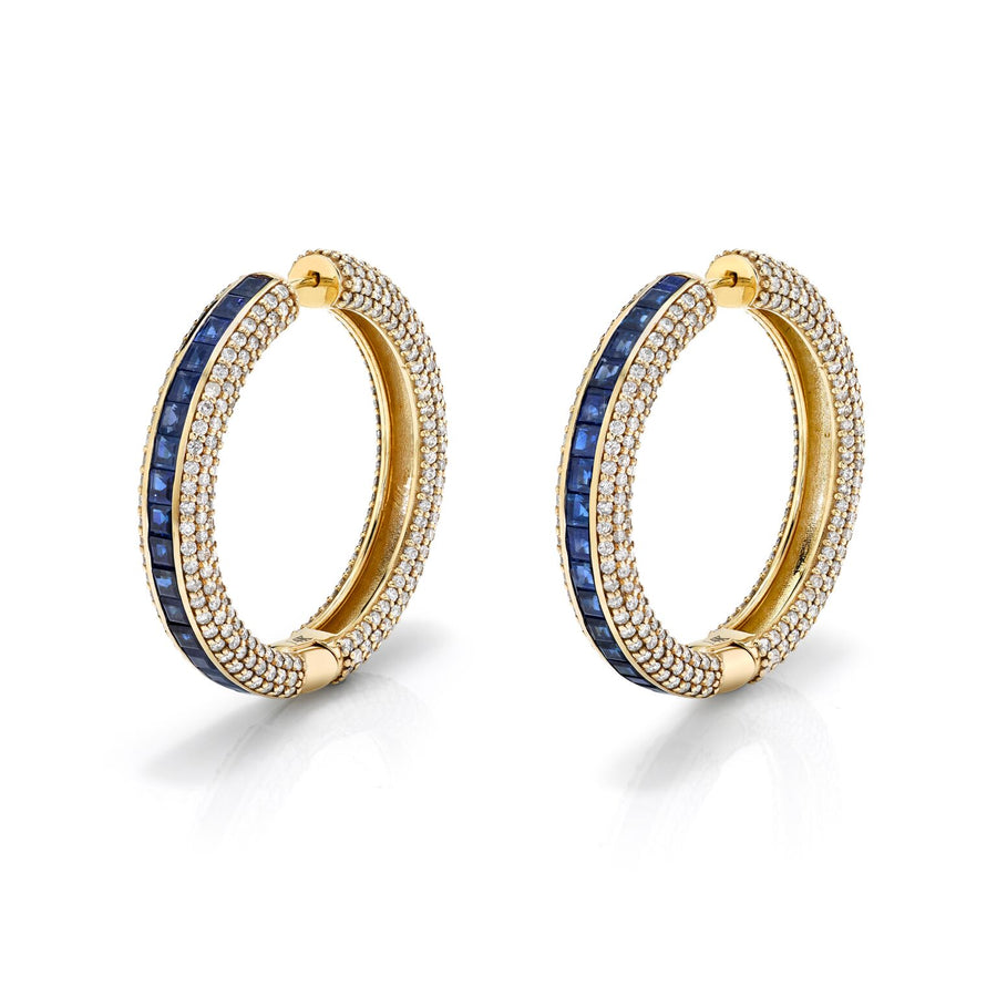 14K Gold Sapphire and Pavé Diamond Hoop Earrings