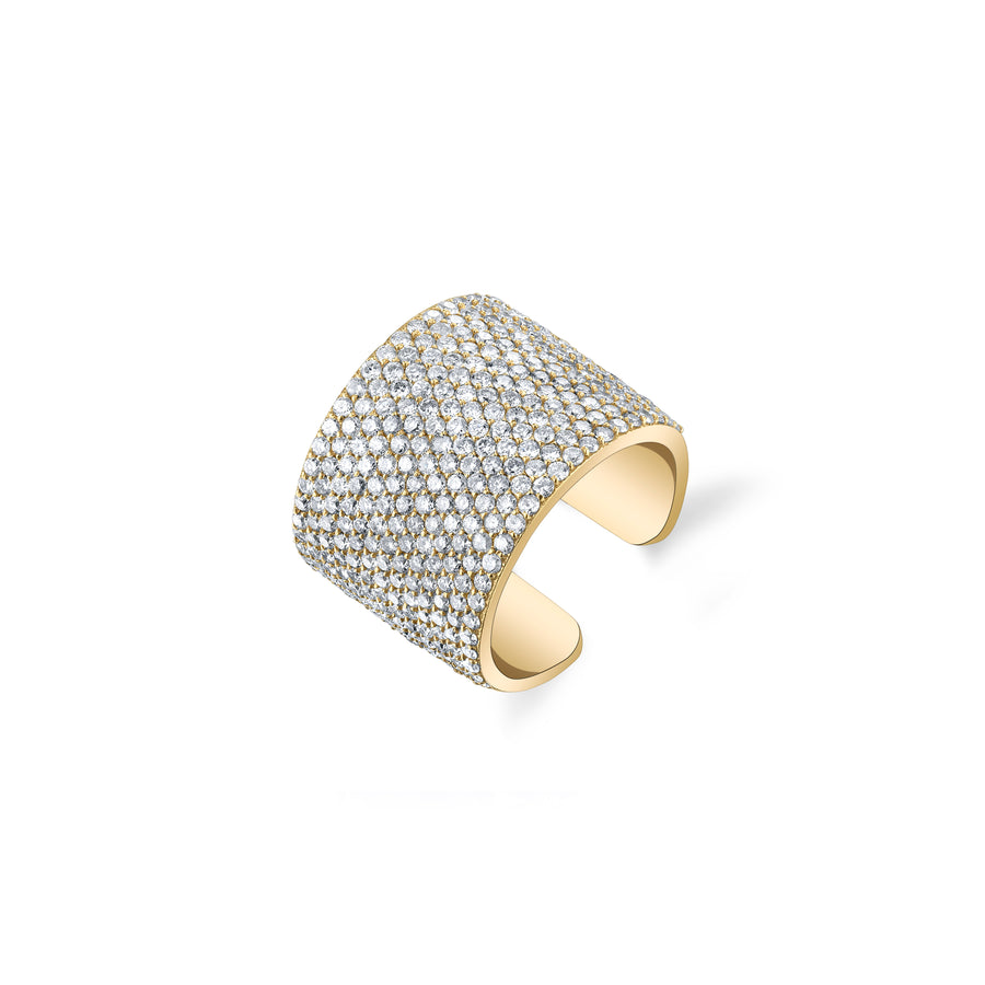 14K Gold Pavé Diamond Cigar Cuff Ring