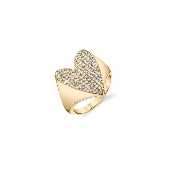 14K Gold Folded Heart Pavé Diamond Ring