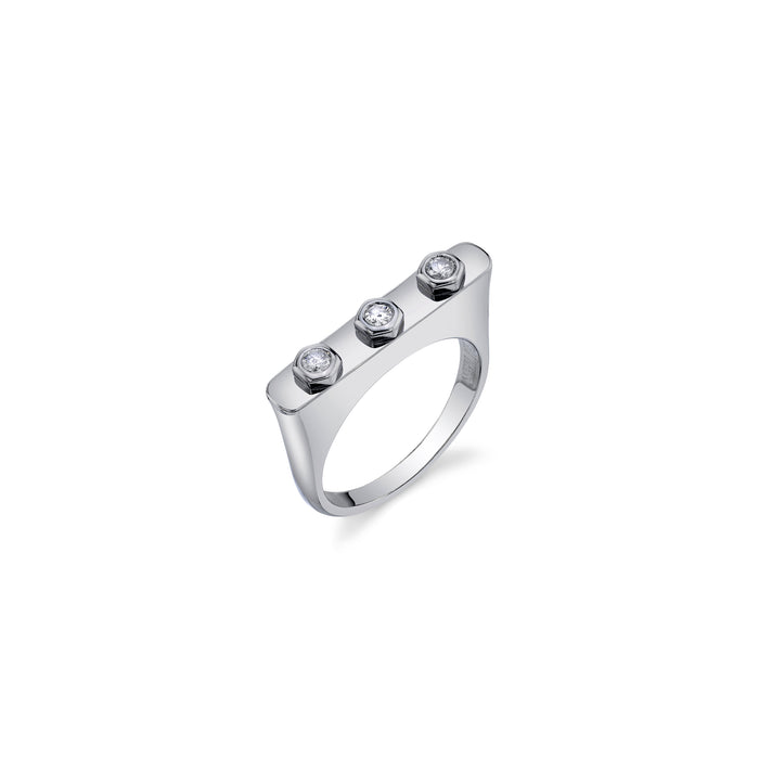 3-Bezel Diamond Bar Ring