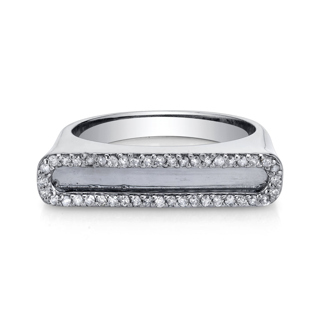 Silver Tower Ring with Pavé Diamond Frame