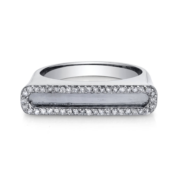 Silver Tower Ring with Diamond Frame