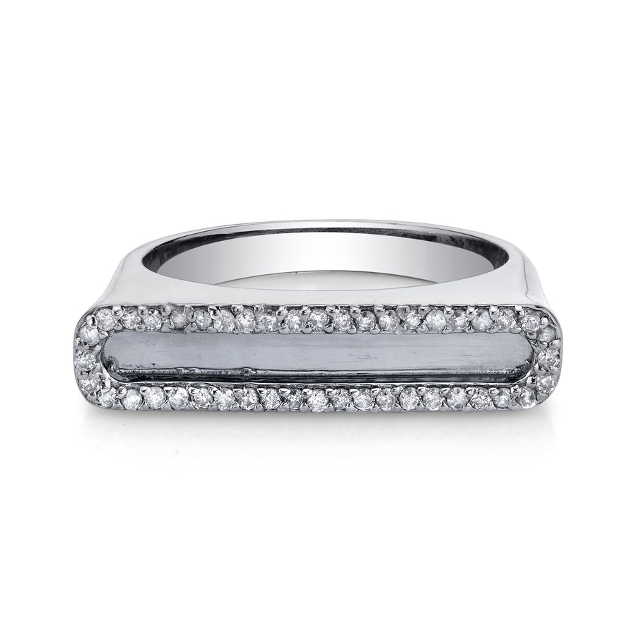 Sterling Silver Tower Ring with Diamond Frame