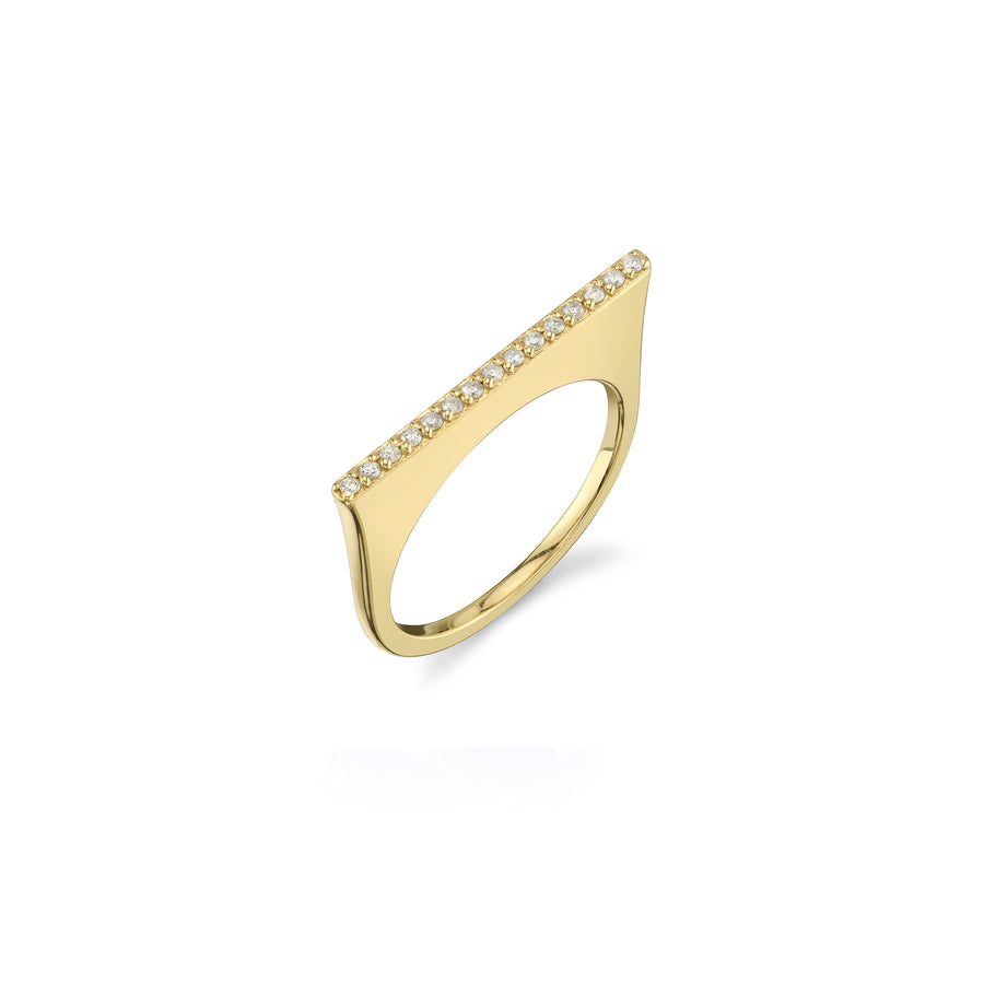 14K Gold Single Bar Pavé Diamond Ring