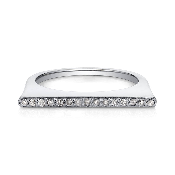 Silver Pave Diamond Tower Slice Ring