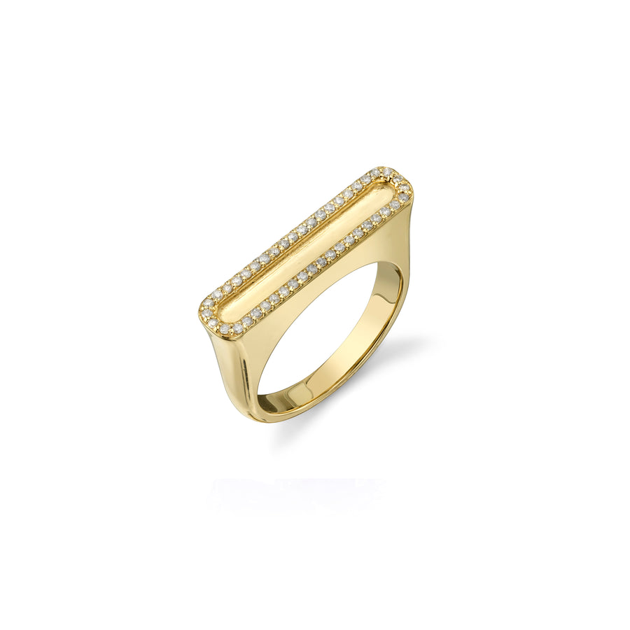 14K Gold Border Bar Ring