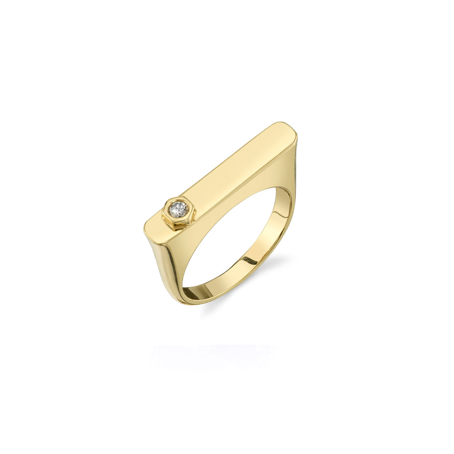 14K Gold Bezel Diamond Bar Ring