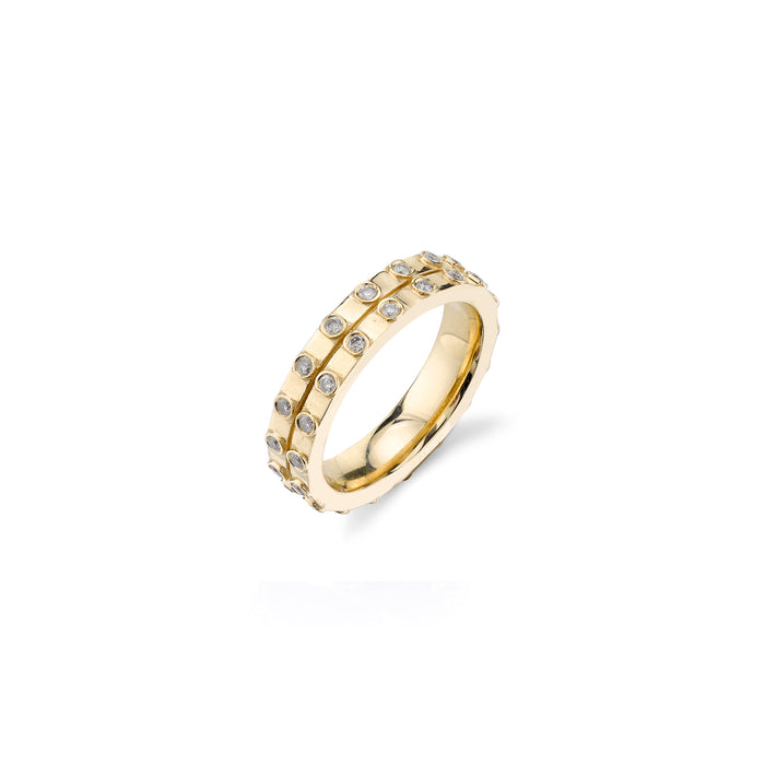 14K Gold Bezel Diamond Double Band