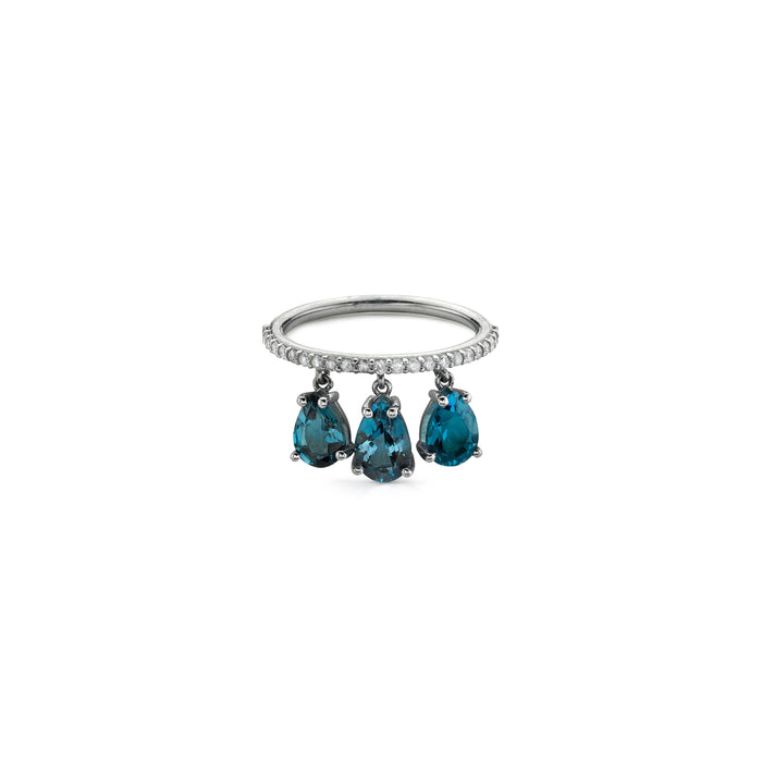 TRIPLE LONDON BLUE TOPAZ SHAKER RING