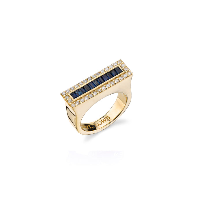 14K DIAMOND AND SAPPHIRE BAGUETTE TOWER RING