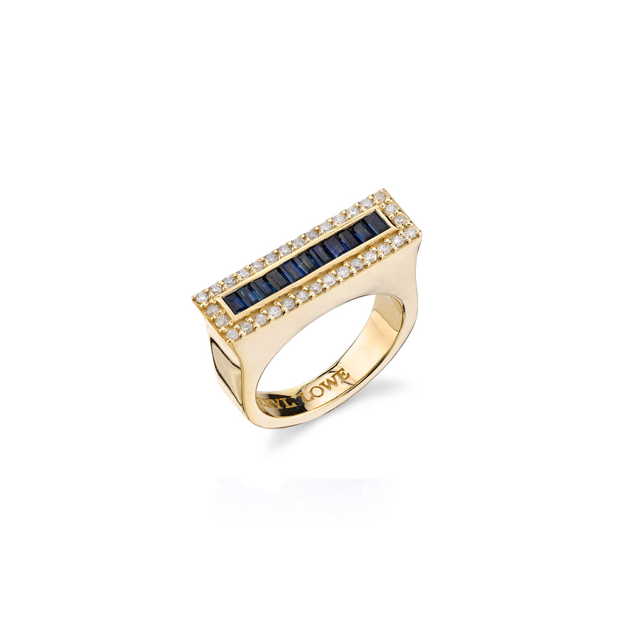 14K Gold Diamond and Sapphire Baguette Tower Ring