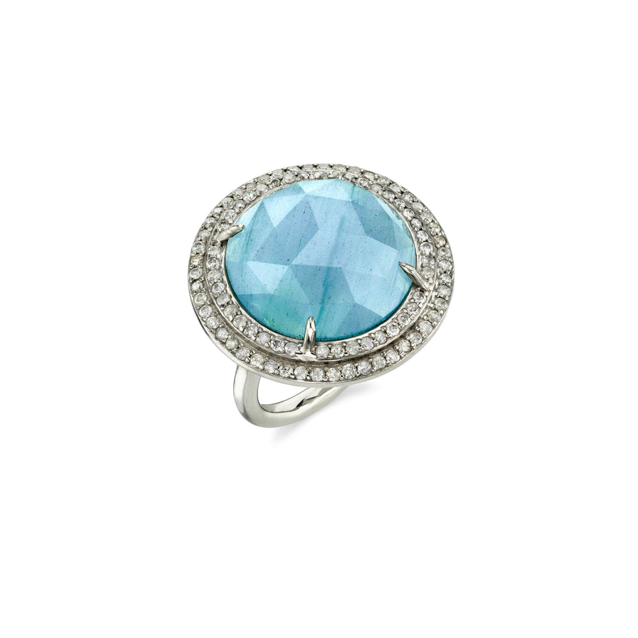 Circular Aquamarine Ring with Pavé Diamond Double Border