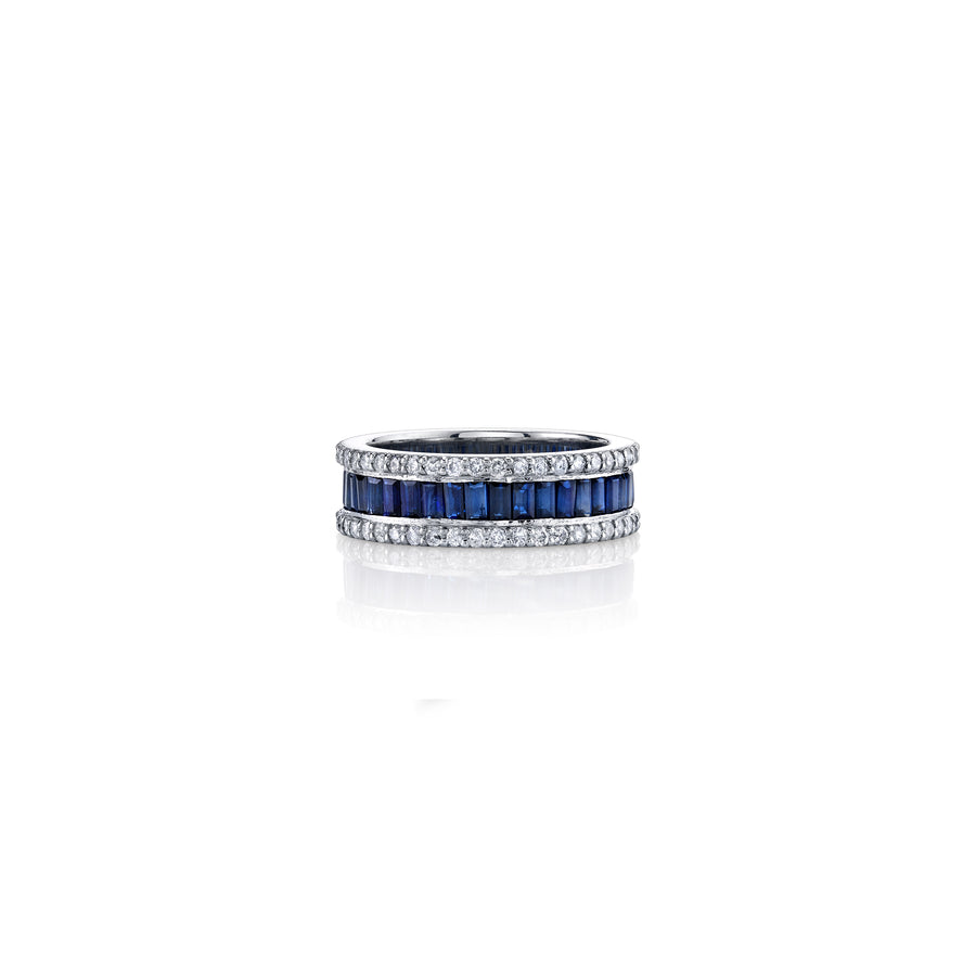 Sapphire Baguette Eternity Band with Pavé Diamonds Border