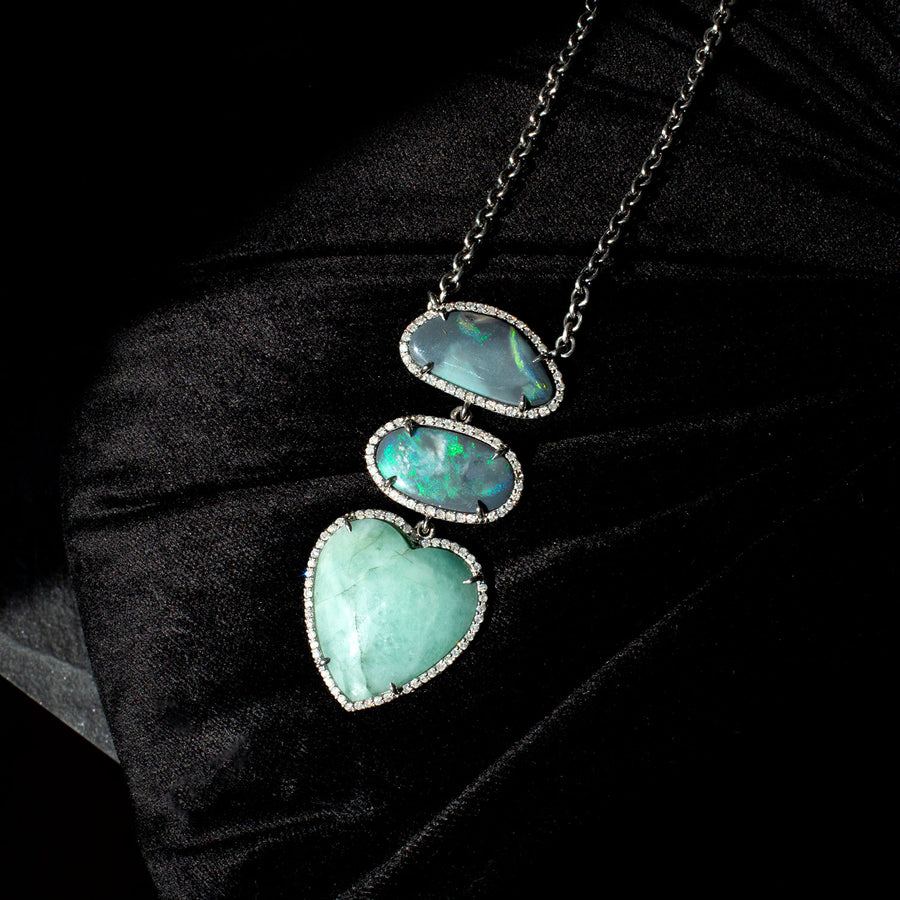 Boulder Opal and Emerald Three Stone Heart Necklace