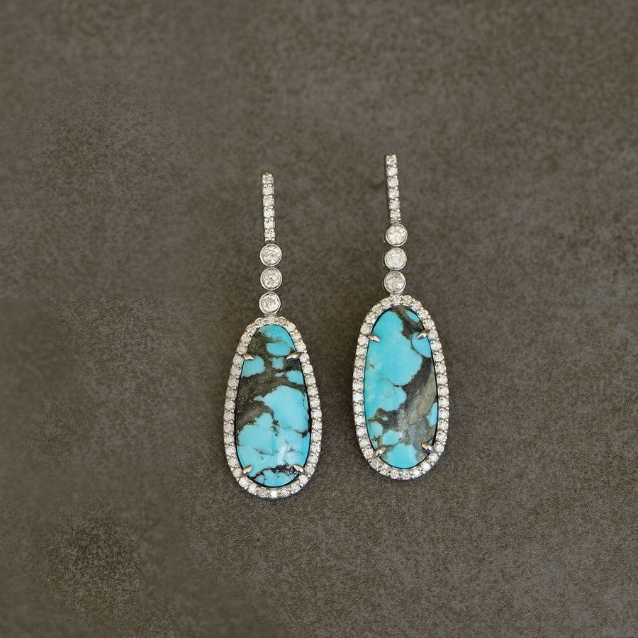 Turquoise Three Bezel Diamond Earrings