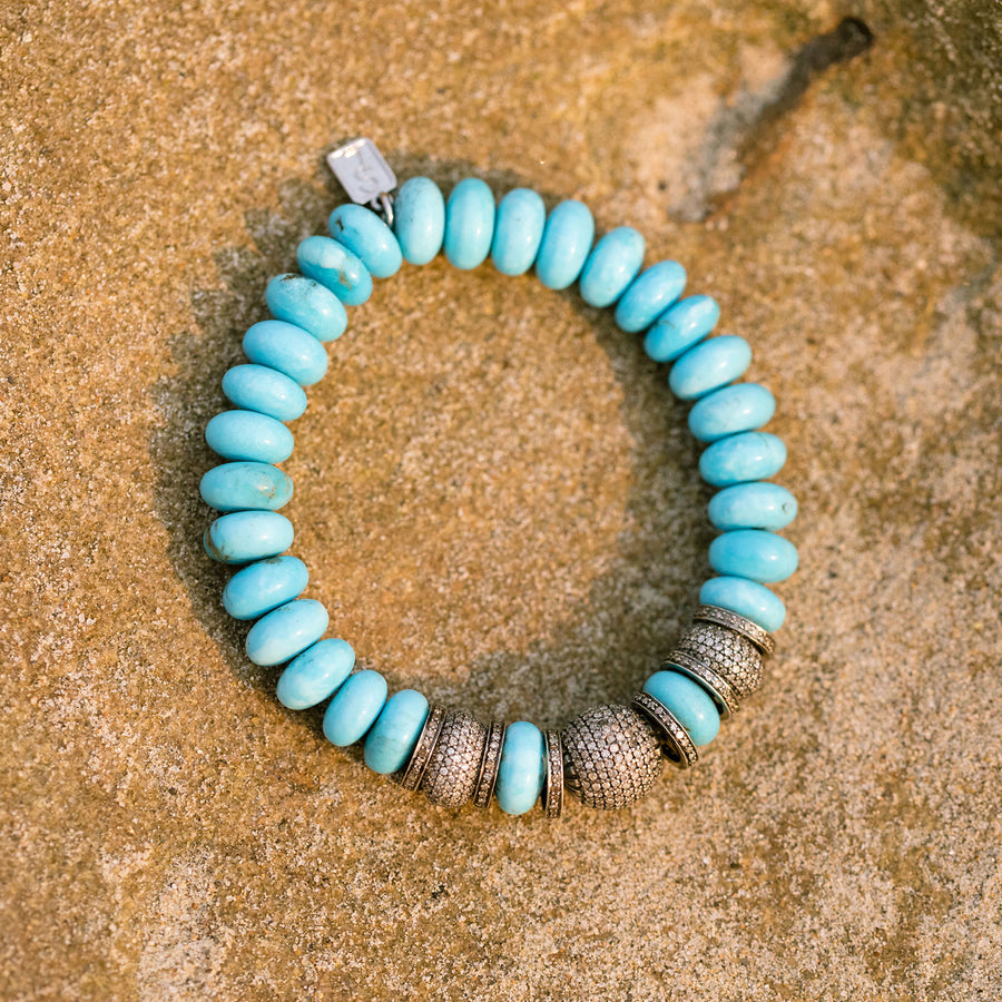 Kingman Turquoise Bracelet with Diamond Donut and Rondelles