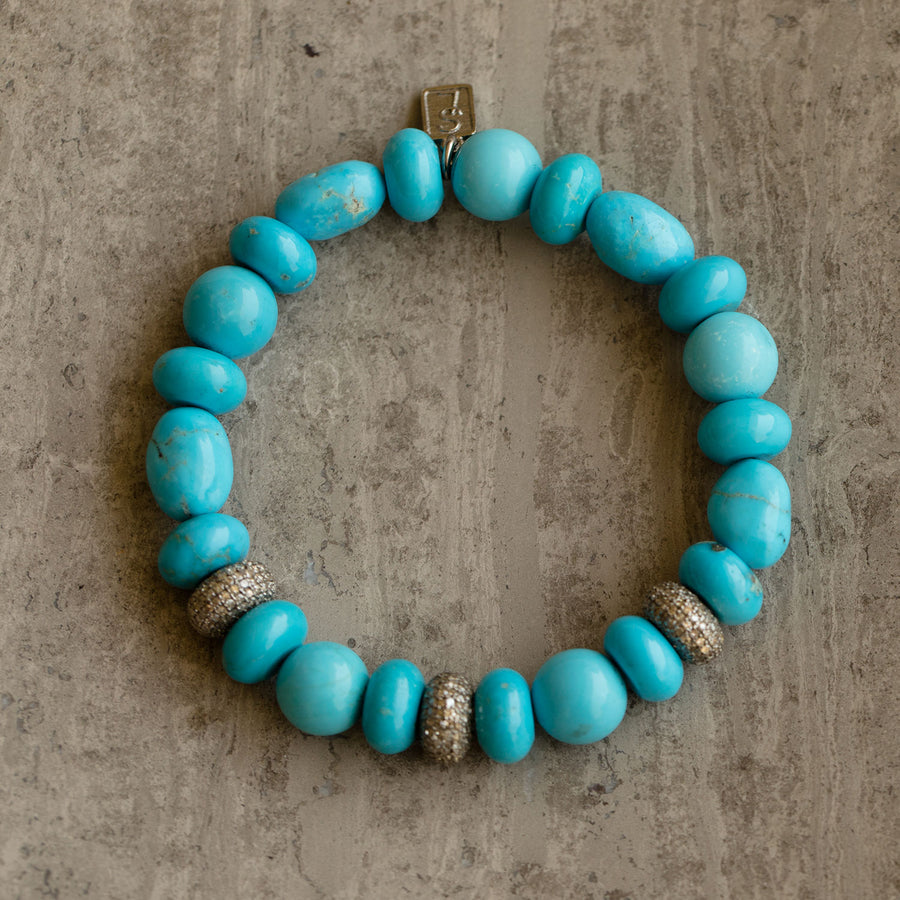 Kingman Turquoise and Diamond Donuts Bracelet
